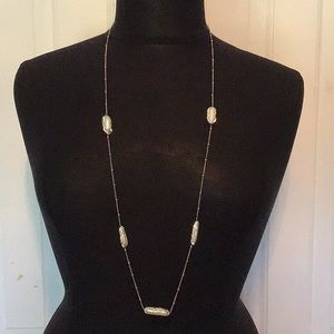 Jewelry - Long  necklace with baroque fresh pearl & cz stone